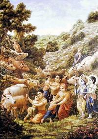 Кришна с пастушками у холма Говардхан