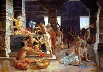 Господь Чайтанья моет храм Гундича